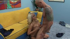 Blonde milf, bald guy