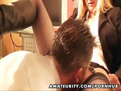 The amateur milf fucks in the office