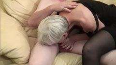 The grey haired granny gets fucked by two men