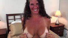 Long haired wife, shaved pussy
