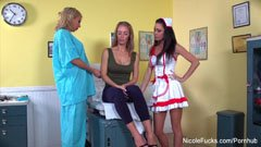 Nicole Aniston and the two nurses