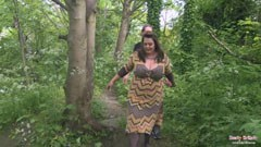 The fat british woman fucks in the forest