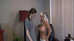 The buxom blonde rewards her stepson