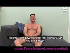 The female agent and the muscled guy