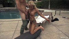 He fucks the blonde mommy by the pool