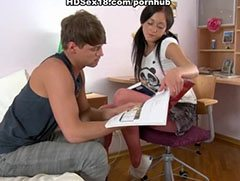 Anal adventure of the black haired teenager