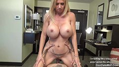 The blonde wife fucks in the office