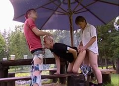 Gay picnic in threesome