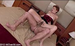 Red haired grandmother with hairy pussy
