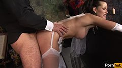 The beautiful bride worships penis
