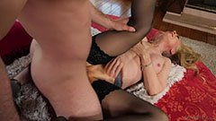 The blonde grandmother seduces the young guy