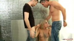 The wonderful blonde milf and the two men