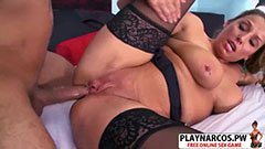 The busty milf fucks her son′s friend